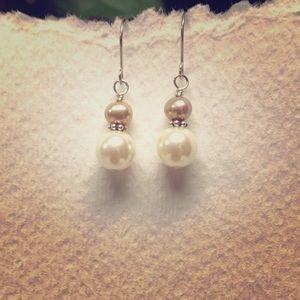 Dainty Champagne freshwater pearl earrings